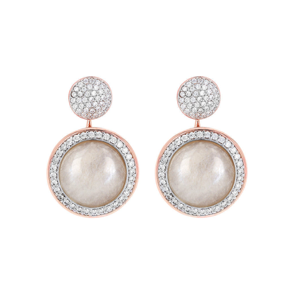 Drop Stone Earrings WHITE MOONSTONE
