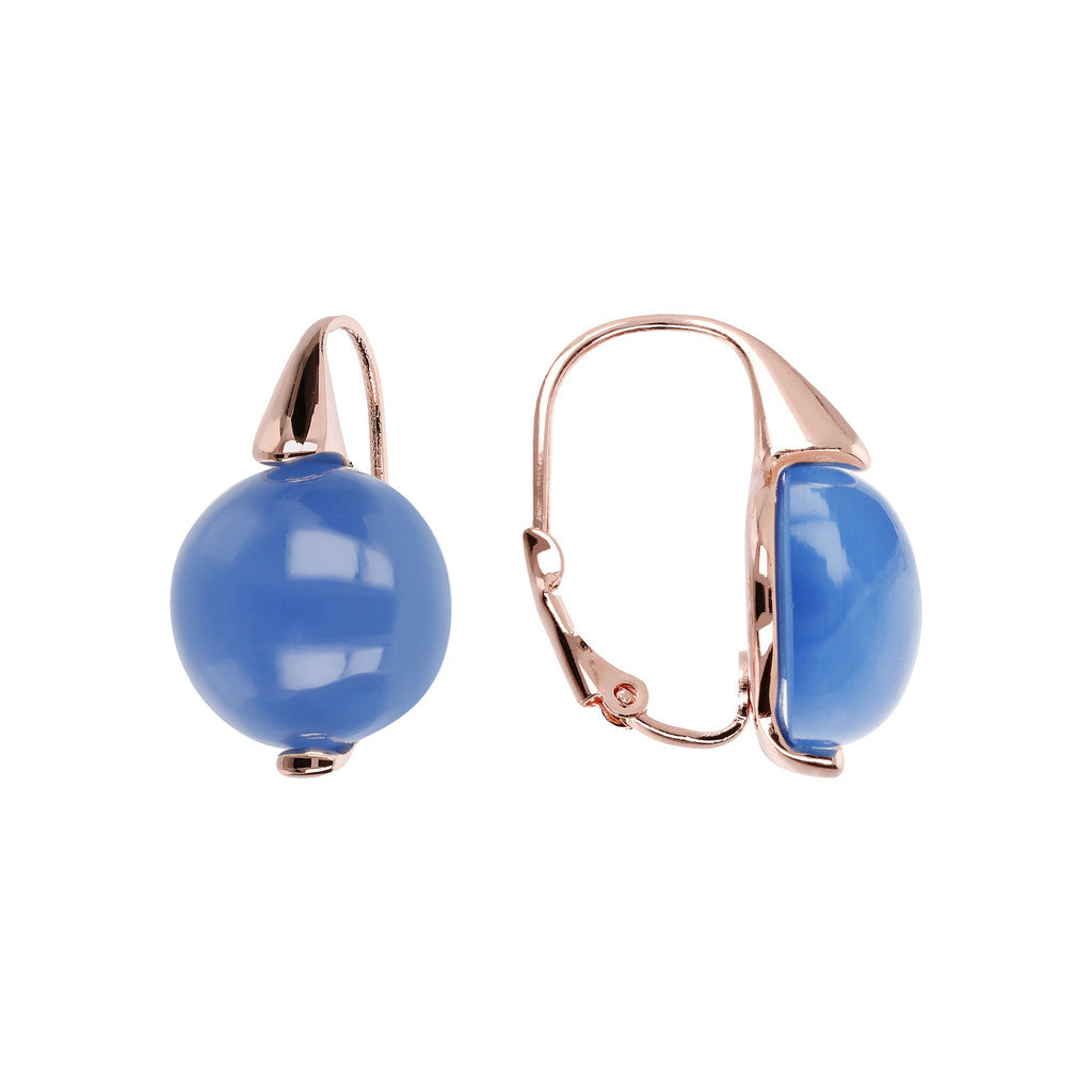 Elegance Earrings BLUE CHALCEDONY front and side