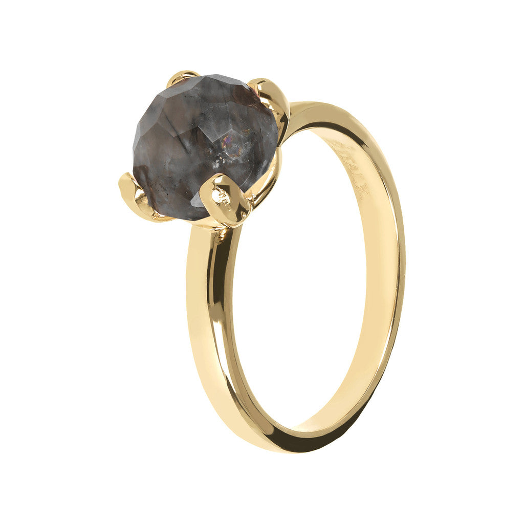 FELICIA BRONZALLURE GOLDEN   BRIOLe' FACETED GEMSTONE RING - WSBZ00949Y GREY QUARTZ-PIETRA 8 MM