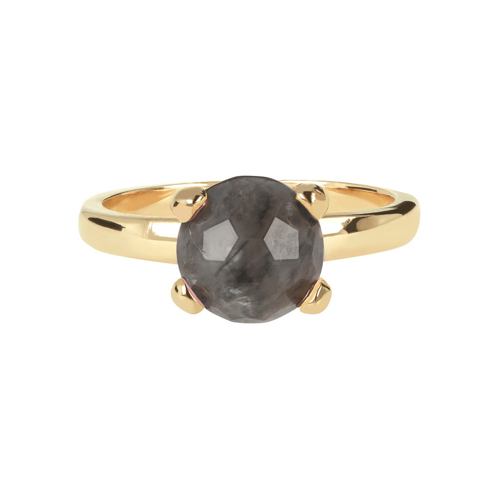 FELICIA BRONZALLURE GOLDEN   BRIOLe' FACETED GEMSTONE RING - WSBZ00949Y GREY QUARTZ setting