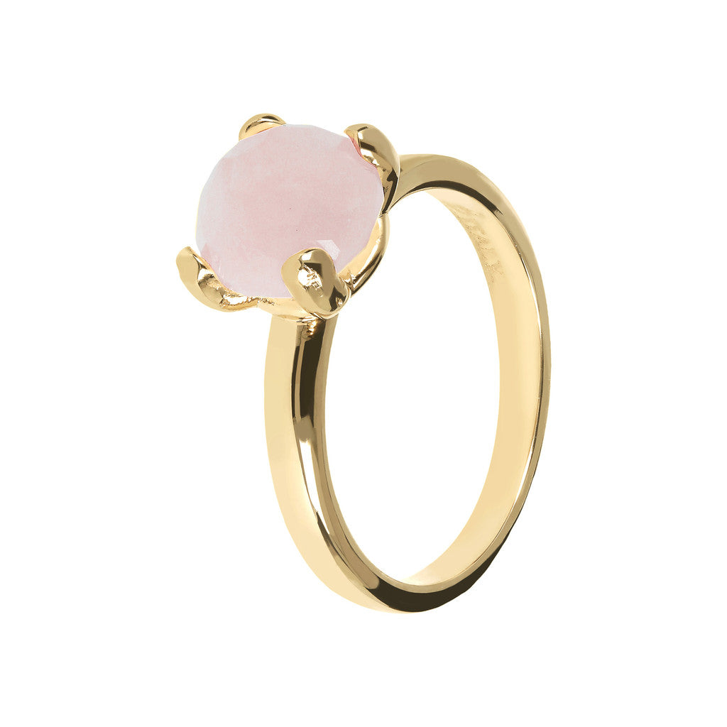 FELICIA BRONZALLURE GOLDEN   BRIOLe' FACETED GEMSTONE RING - WSBZ00949Y ROSE QUARTZ-PIETRA 8 MM