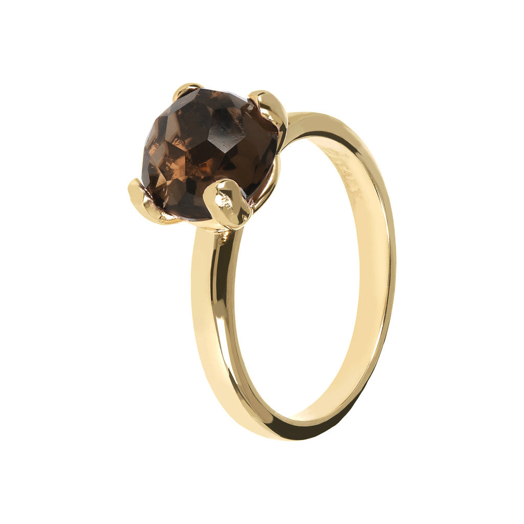 FELICIA BRONZALLURE GOLDEN   BRIOLe' FACETED GEMSTONE RING - WSBZ00949Y SMOKY QUARTZ-PIETRA 8 MM
