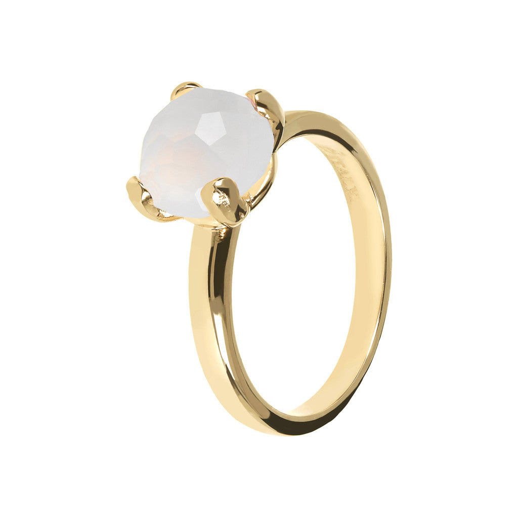 FELICIA BRONZALLURE GOLDEN   BRIOLe' FACETED GEMSTONE RING - WSBZ00949Y WHITE CHALCEDONY-PIETRA 8 MM