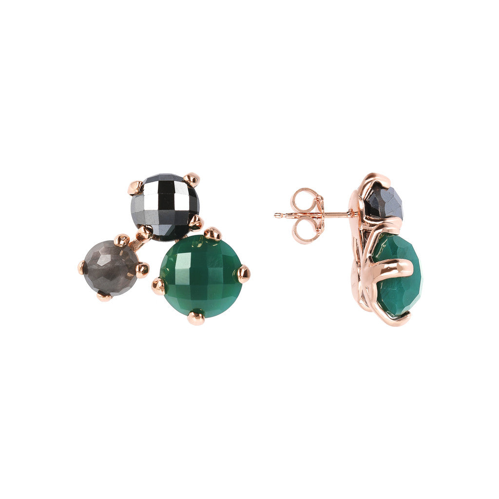 FELICIA VARIEGATA FACETED GEMSTONE EARRINGS - HEMATITE + CLOUDY QTZ + GREEN CHALCEDONY - WSBZ01667 front and side