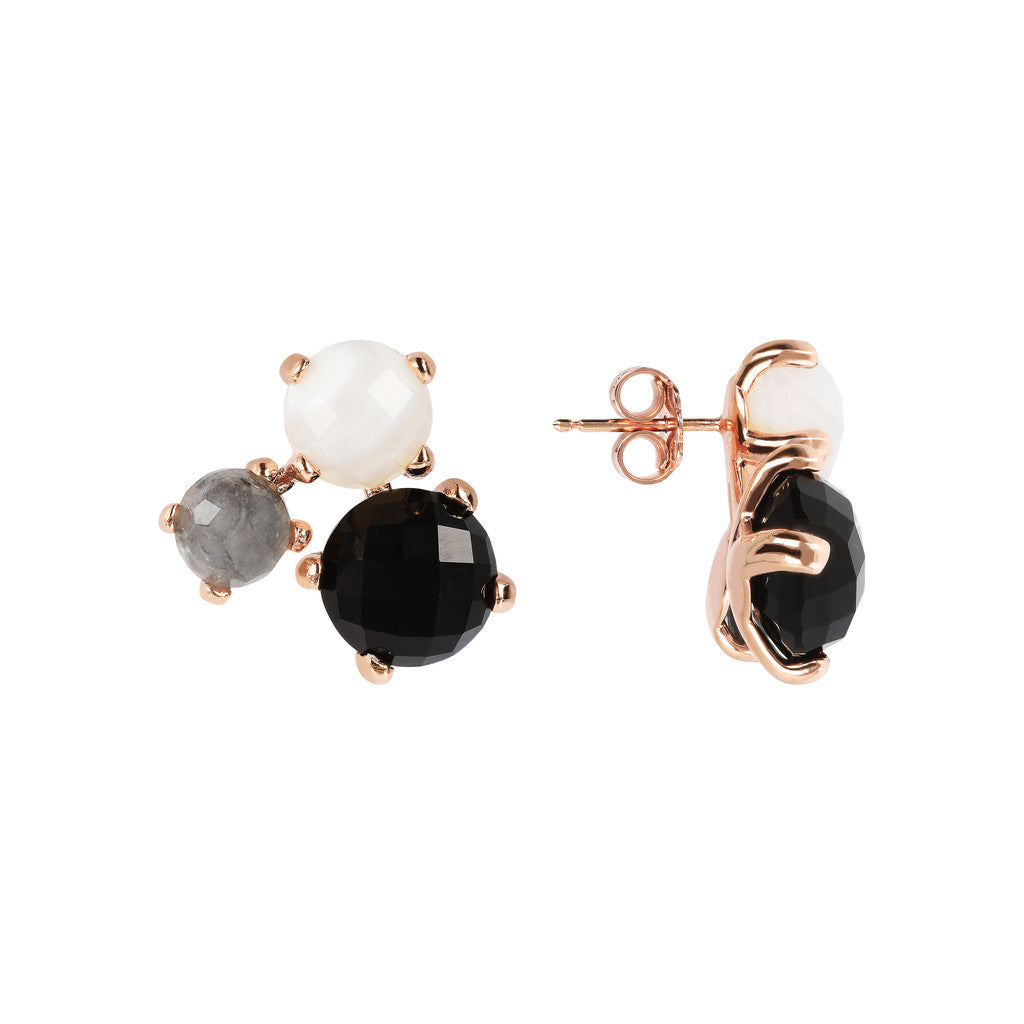 FELICIA VARIEGATA FACETED GEMSTONE EARRINGS - WHITE LACE AGATE+CLOUDY QTZ+BLACK ONYX - WSBZ01667 front and side