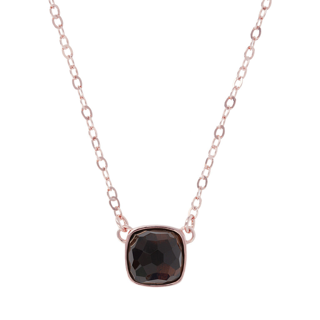 Faceted Gemstone Necklace SMOKY QUARTZ