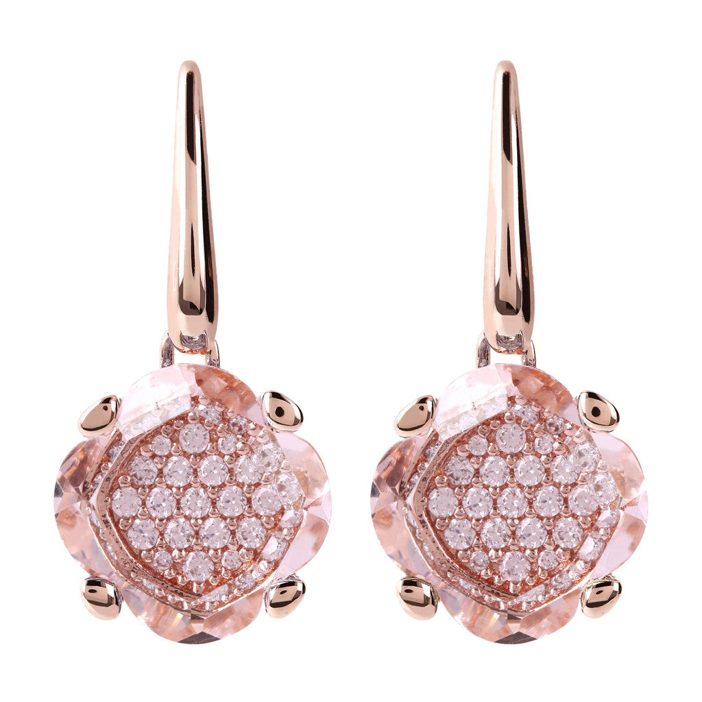 Fancy Flower Dangle Earrings HYDROTHERMAL ROSE MORGANITE