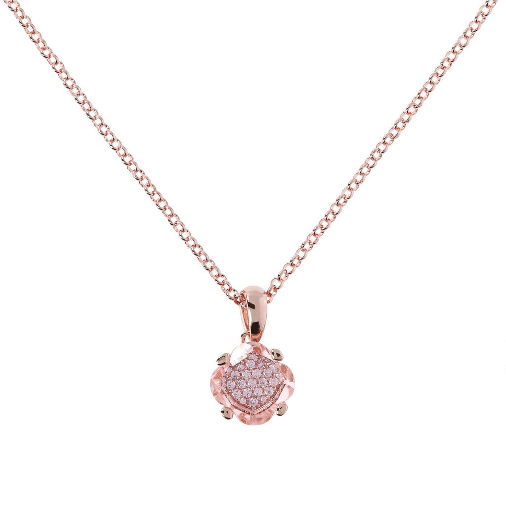 Fancy Rolo Pendant Necklace HYDROTHERMAL ROSE MORGANITE