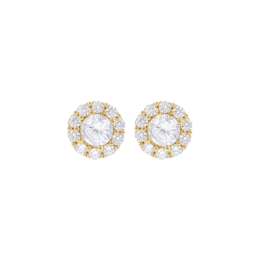 Floral Earrings CZ Bronzallure Yellow Gold
