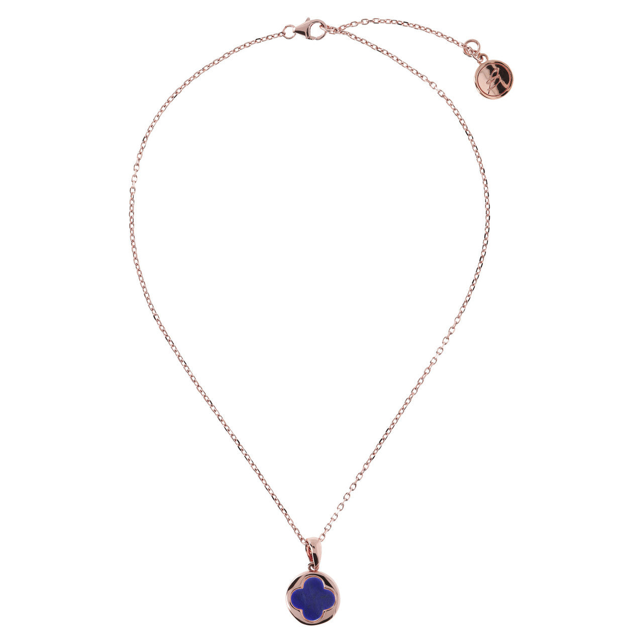Four Leaf Clover Charm Necklace LAPIS from above
