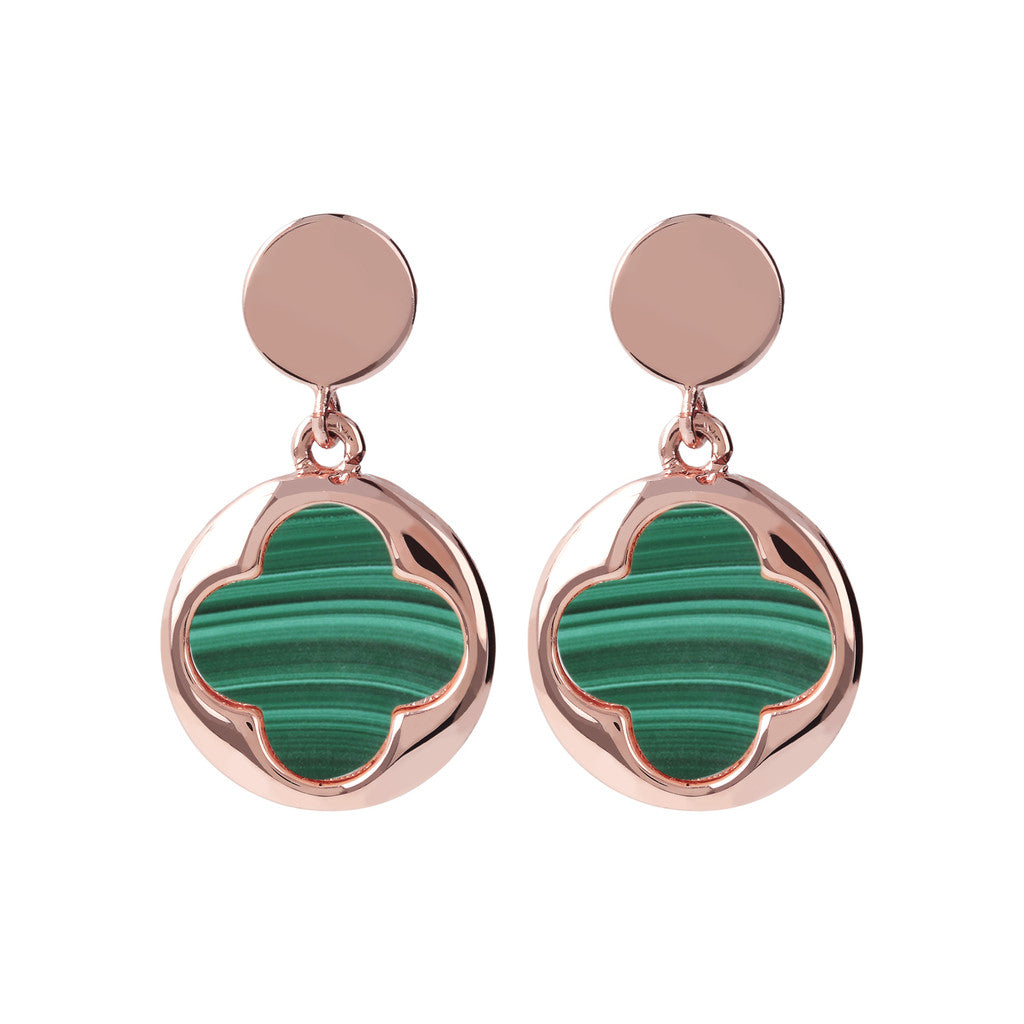 Four Leaf Clover Dangle Earrings MALACHITE
