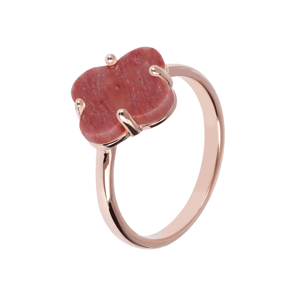 Four Leaf Clover Ring  RED FOSSIL WOOD