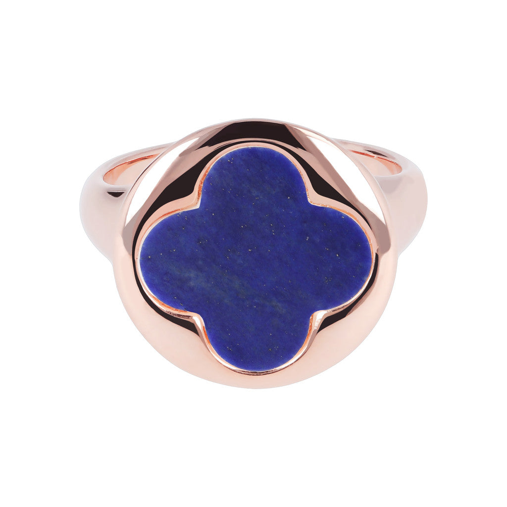 Four Leaf Clover Seal Ring LAPIS setting