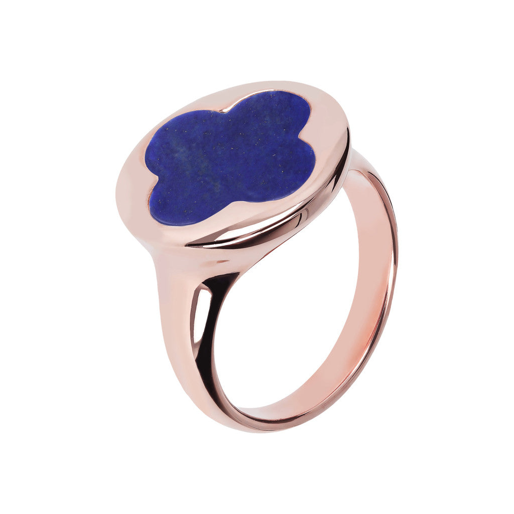 Four Leaf Clover Seal Ring LAPIS
