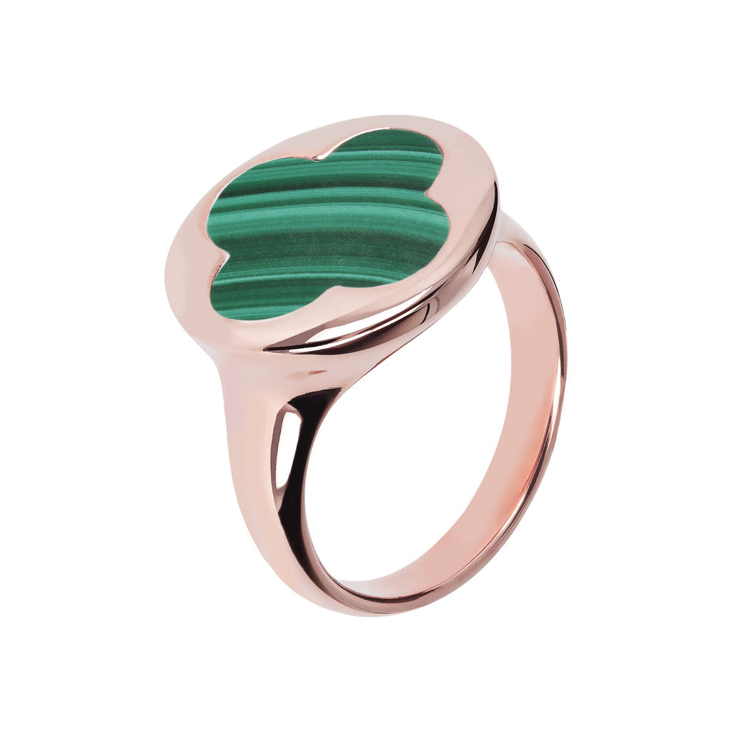 Four Leaf Clover Seal Ring MALACHITE