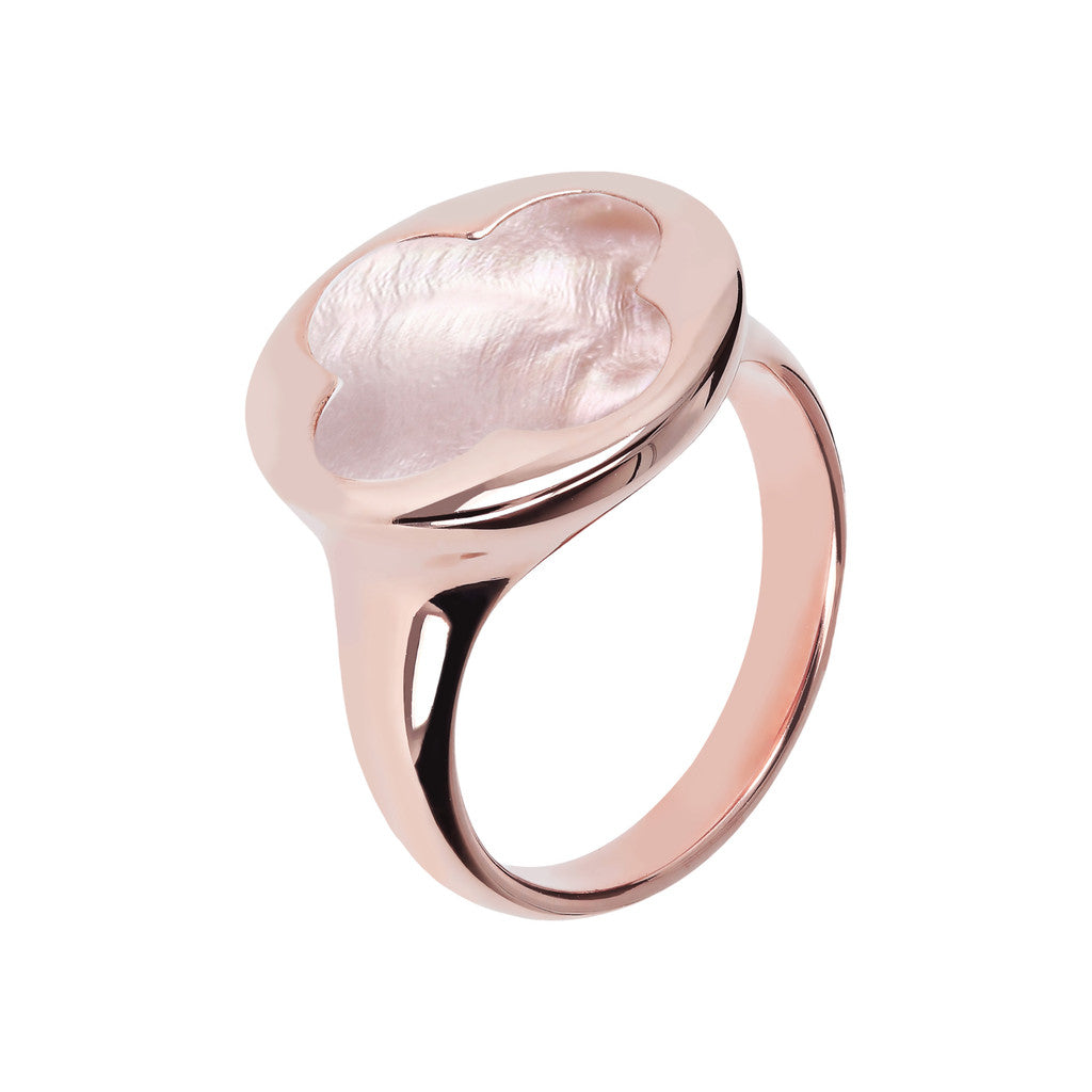 Four Leaf Clover Seal Ring PINK MOP