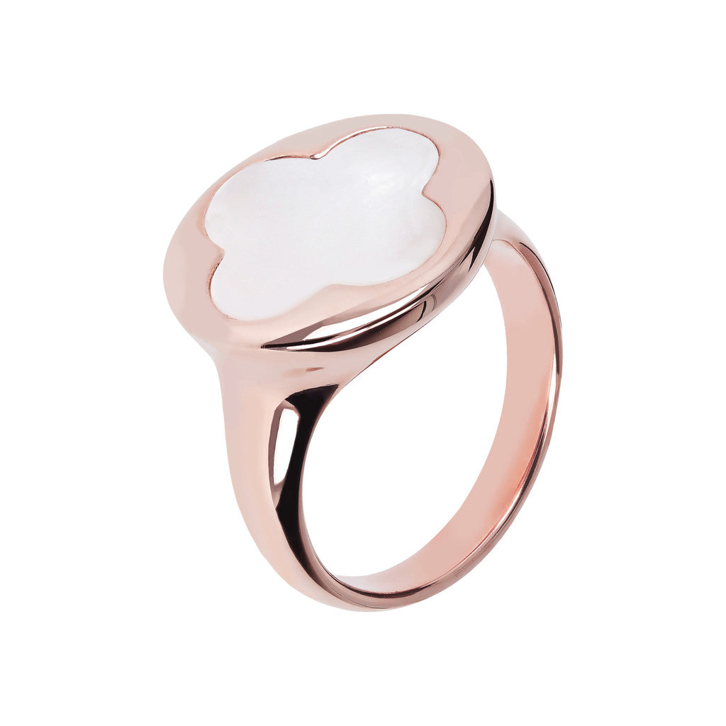 Four Leaf Clover Seal Ring WHITE MOP