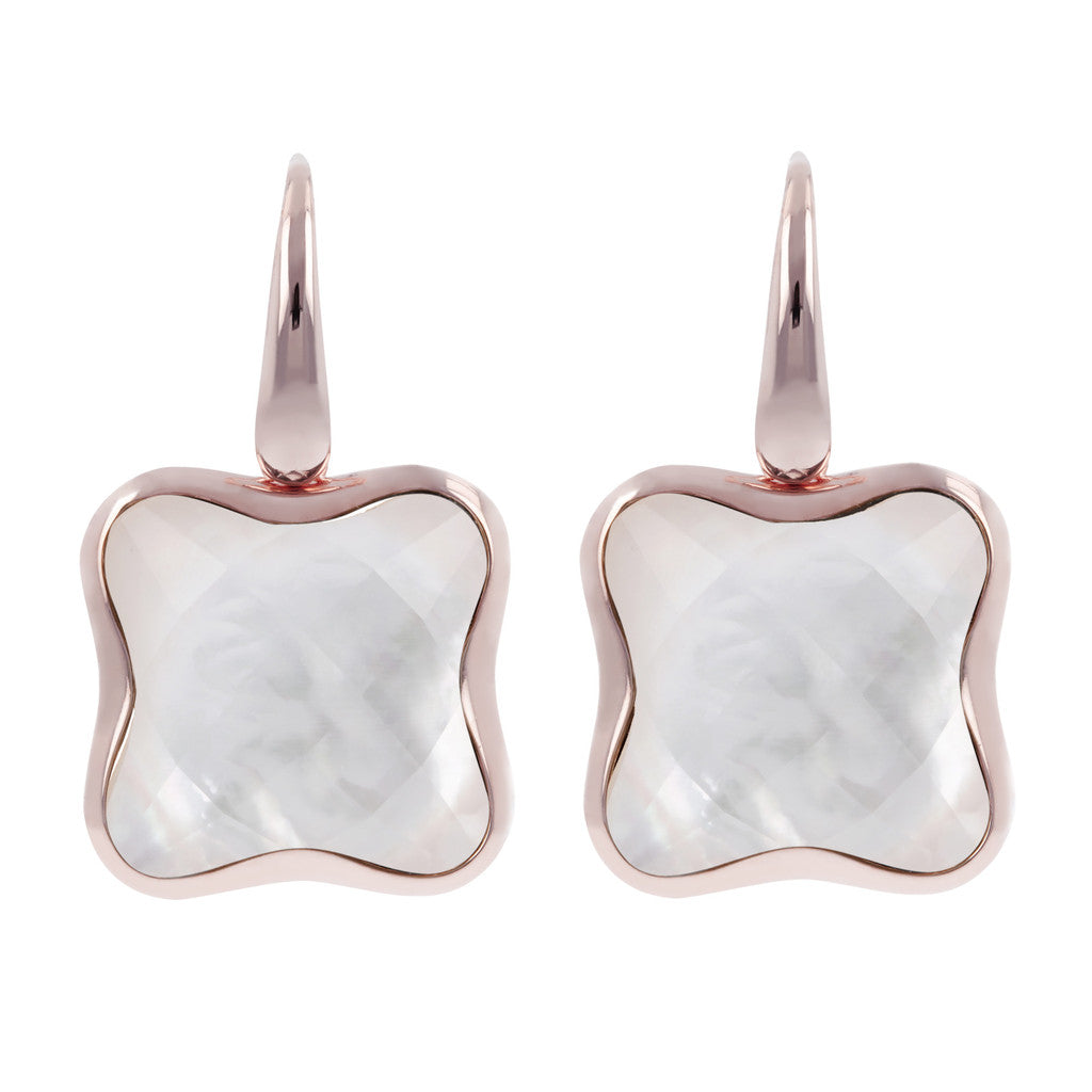 Four leaf clover earrings WHITE MOP
