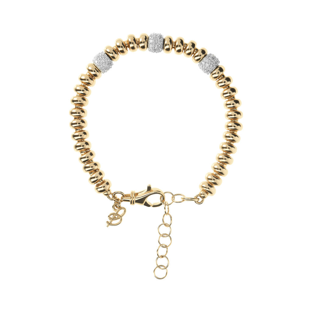 Luna Bracelet with Beads and CZ Details Yellow Gold