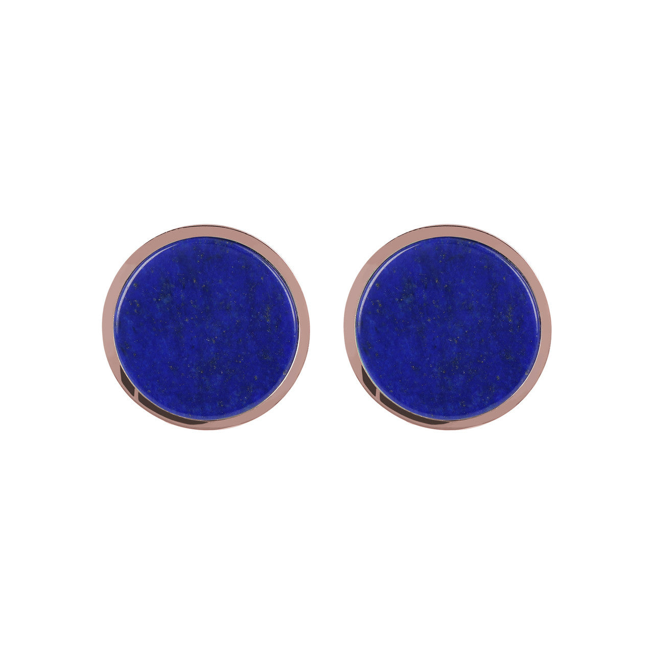 Gemstone Button Earrings LAPIS