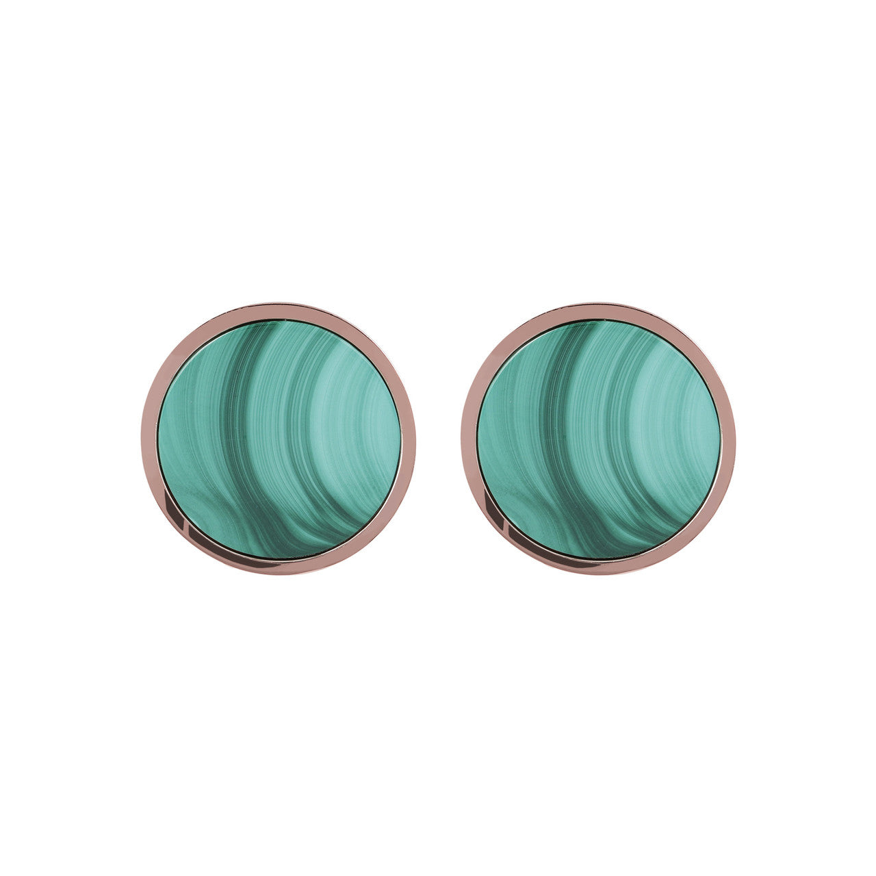 Gemstone Button Earrings MALACHITE