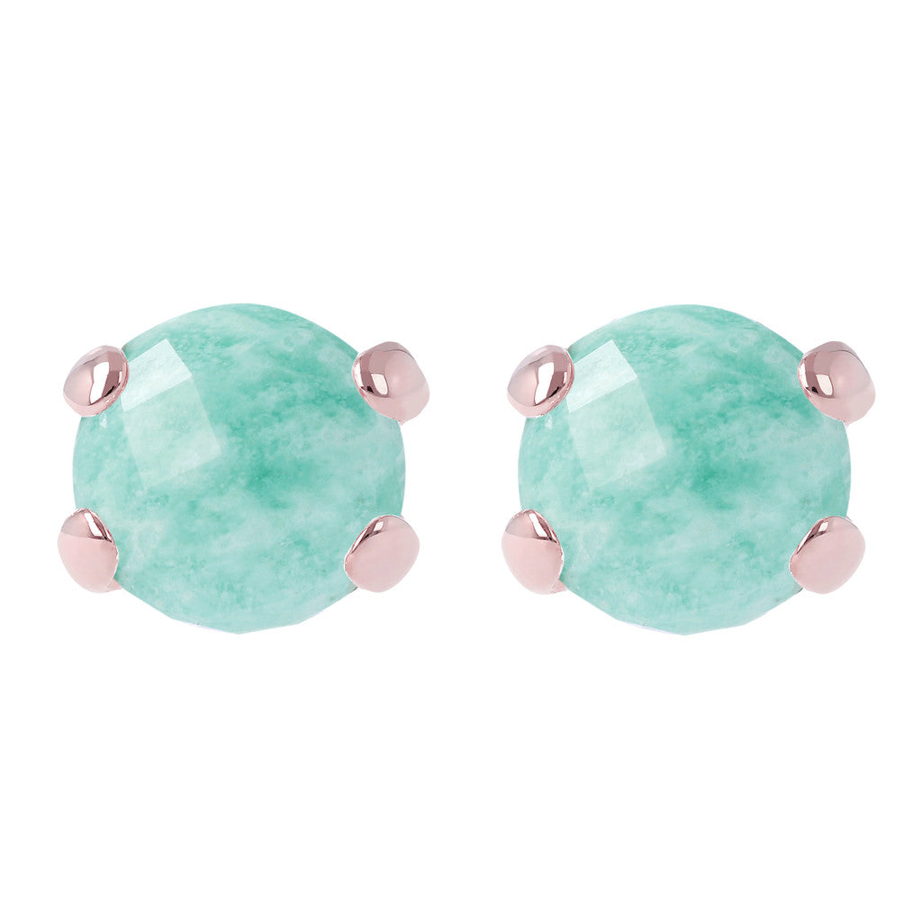 Gemstone Stud Earrings AMAZZONITE front and side