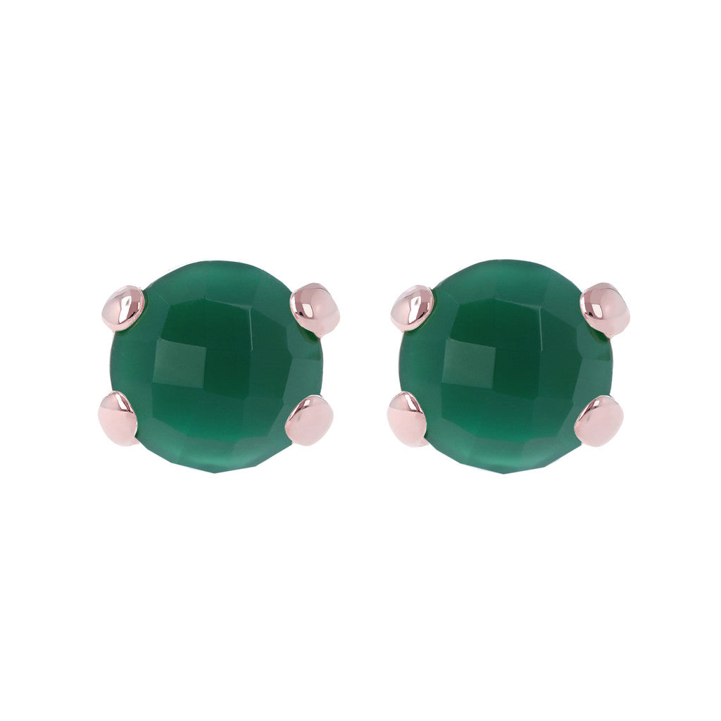 Gemstone Stud Earrings GREEN CHALCEDONY