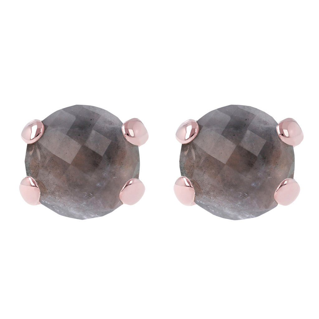 Gemstone Stud Earrings GREY QUARTZ