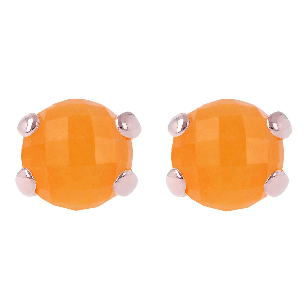 Gemstone Stud Earrings ORANGE CHALCEDONY