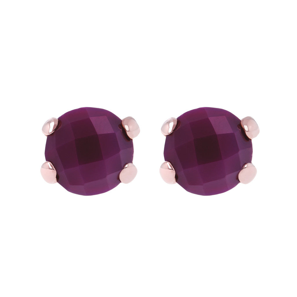 Gemstone Stud Earrings PLUM AGATE