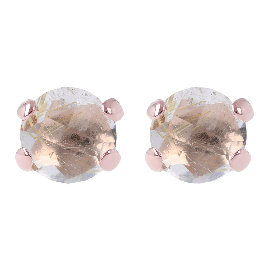 Gemstone Stud Earrings RUTILATED