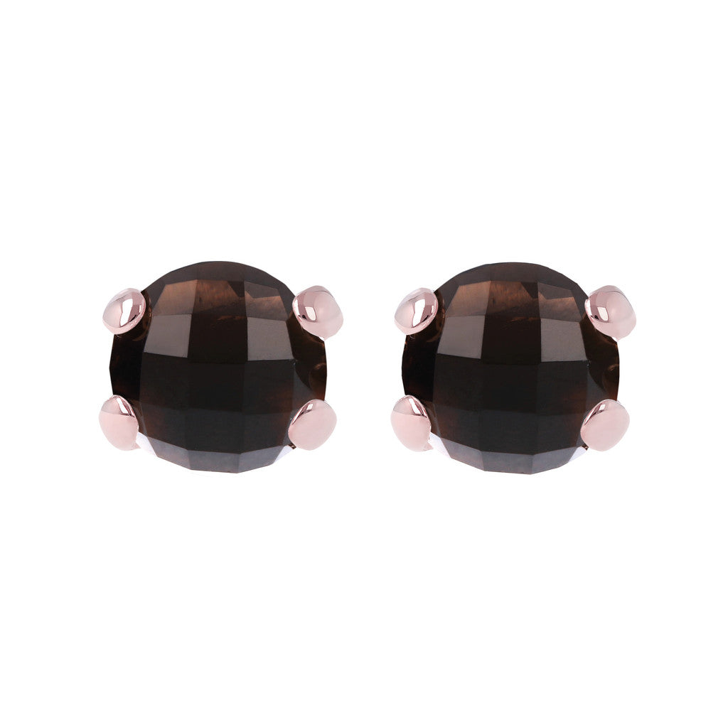 Gemstone Stud Earrings SMOKY QUARTZ