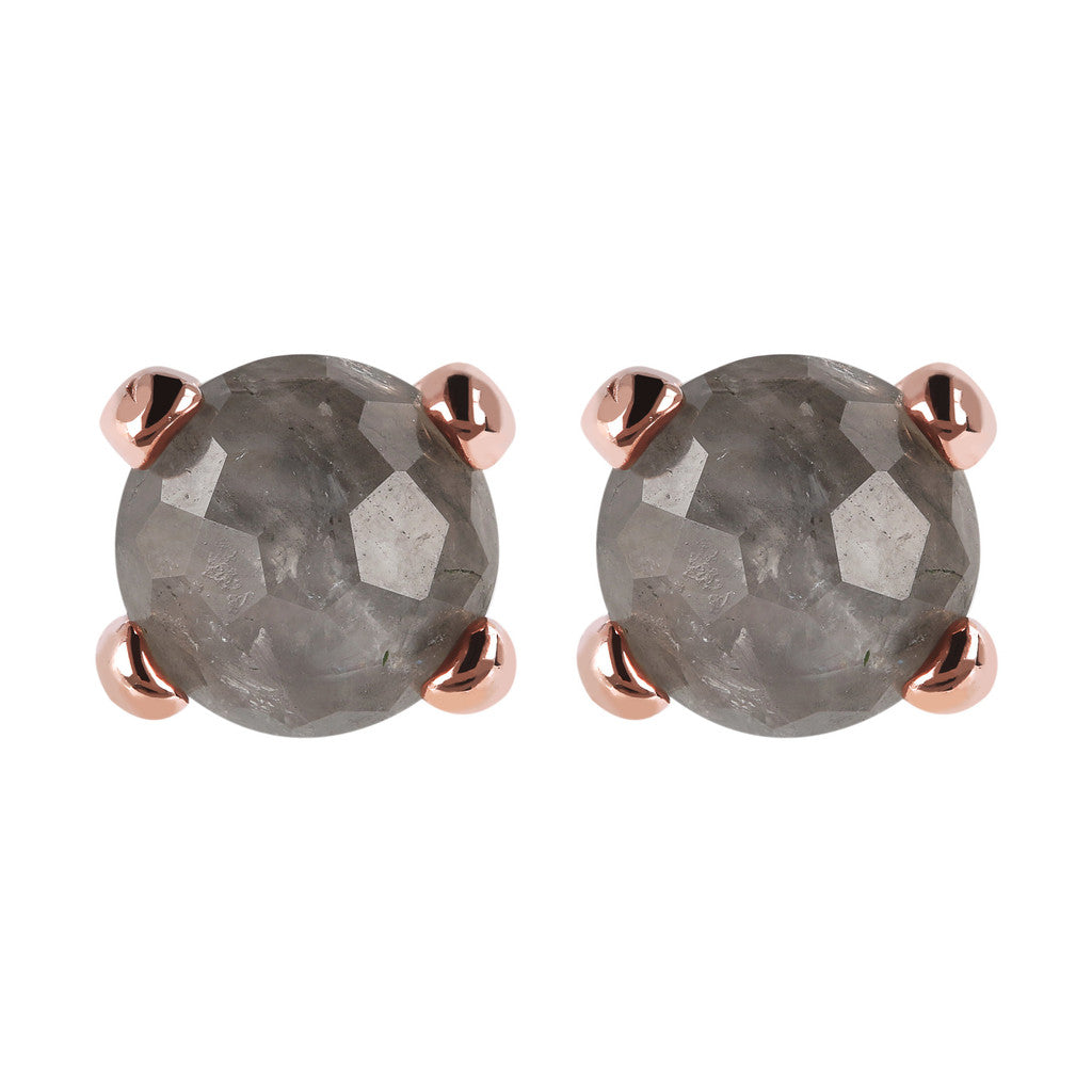 Gemstone Stud Earrings Small GREY QUARTZ