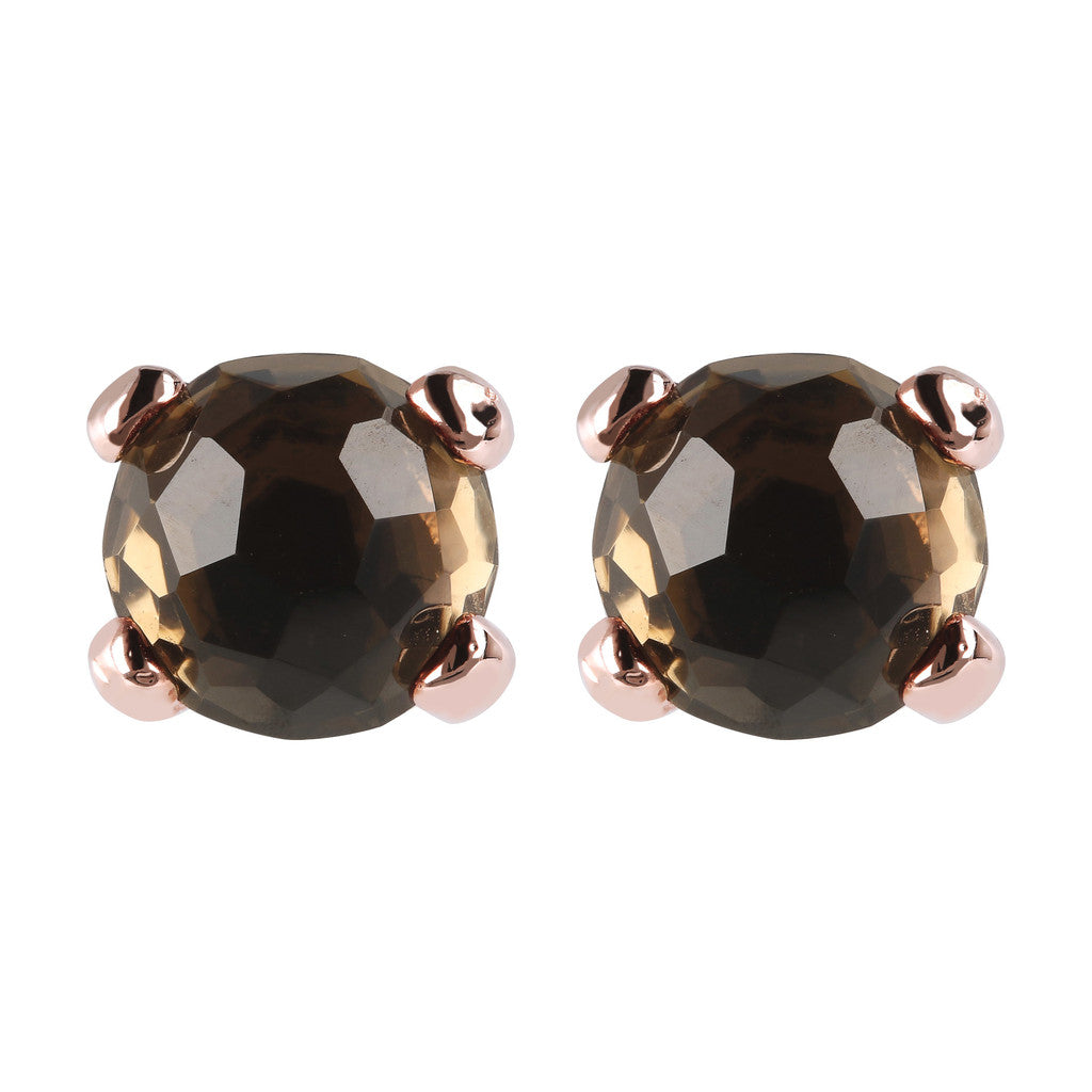 Gemstone Stud Earrings Small SMOKY QUARTZ