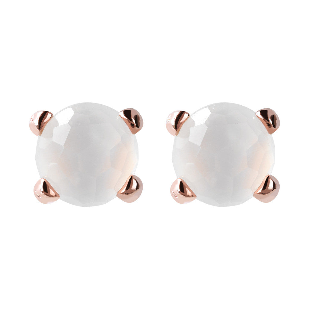 Gemstone Stud Earrings Small WHITE CHALCEDONY