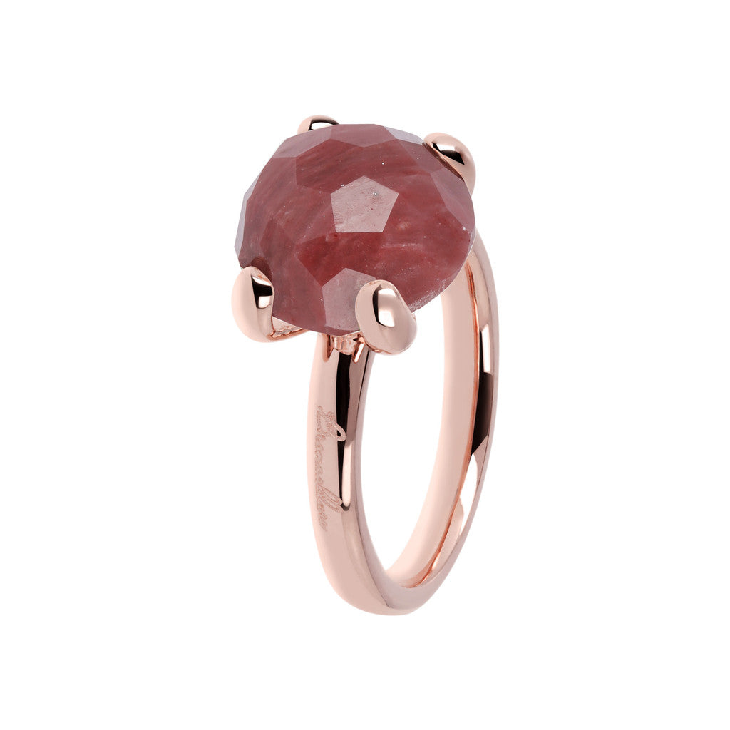 Red Fossil Wood Cocktail Ring