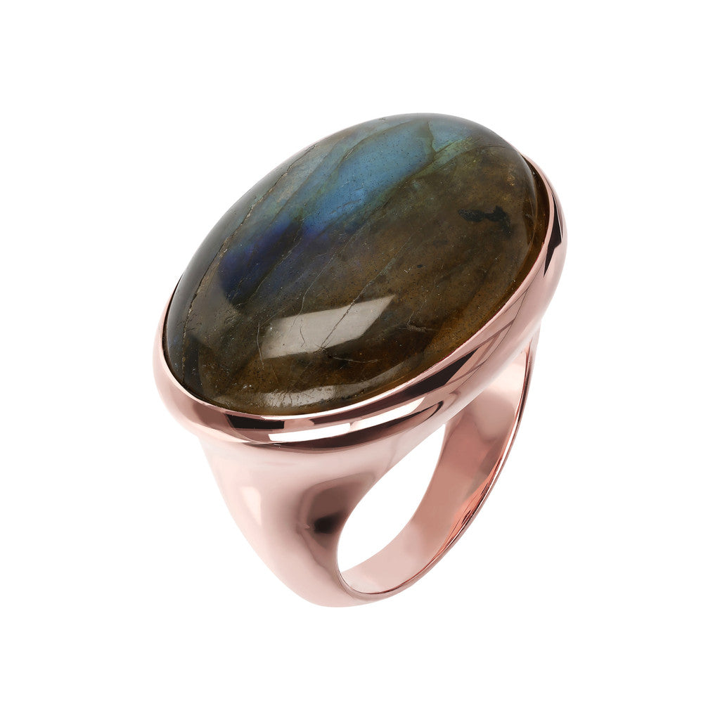 Genuine Gemstone Cabochon Ring LABRADORITE