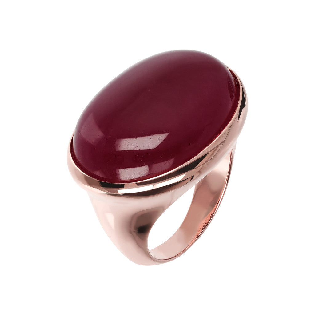 Genuine Gemstone Cabochon Ring MELANZANA CHALCEDONY