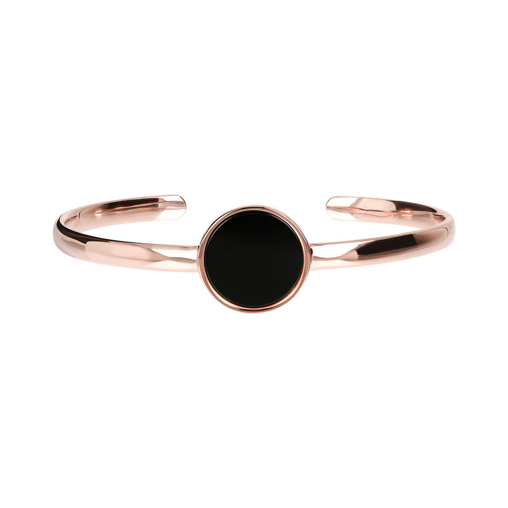 Genuine Gemstone Charm Open Bangle BLACK ONYX side