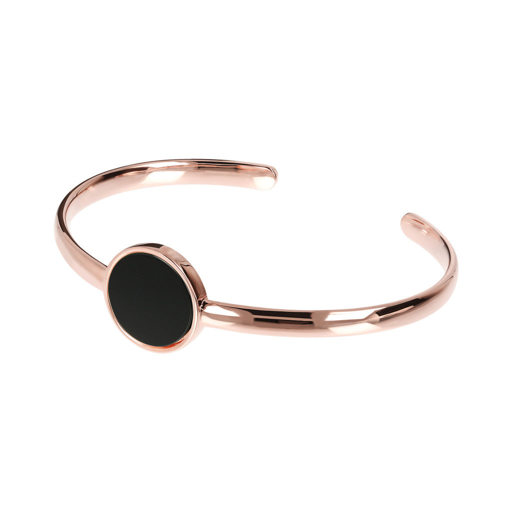 Genuine Gemstone Charm Open Bangle BLACK ONYX