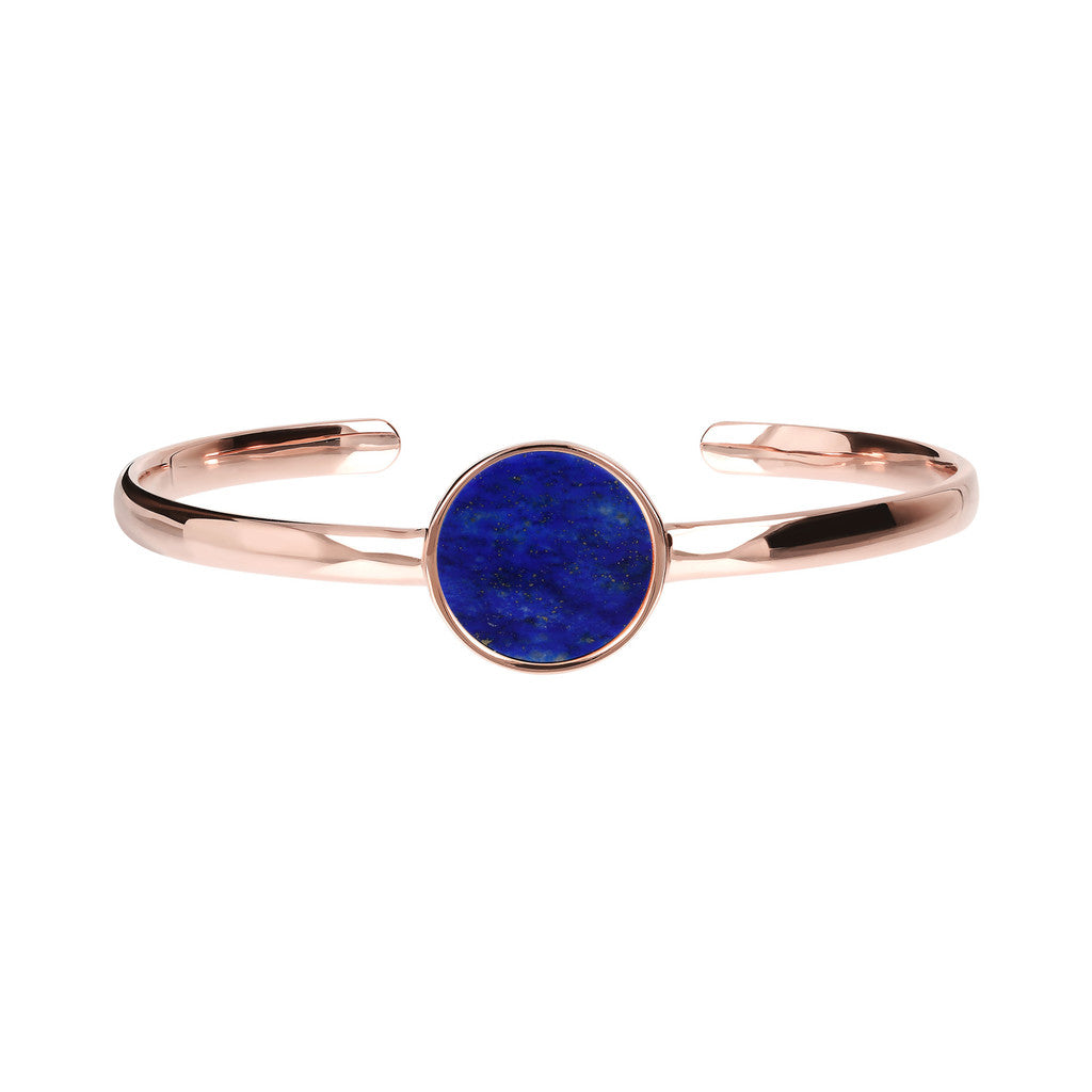 Genuine Gemstone Charm Open Bangle LAPIS side