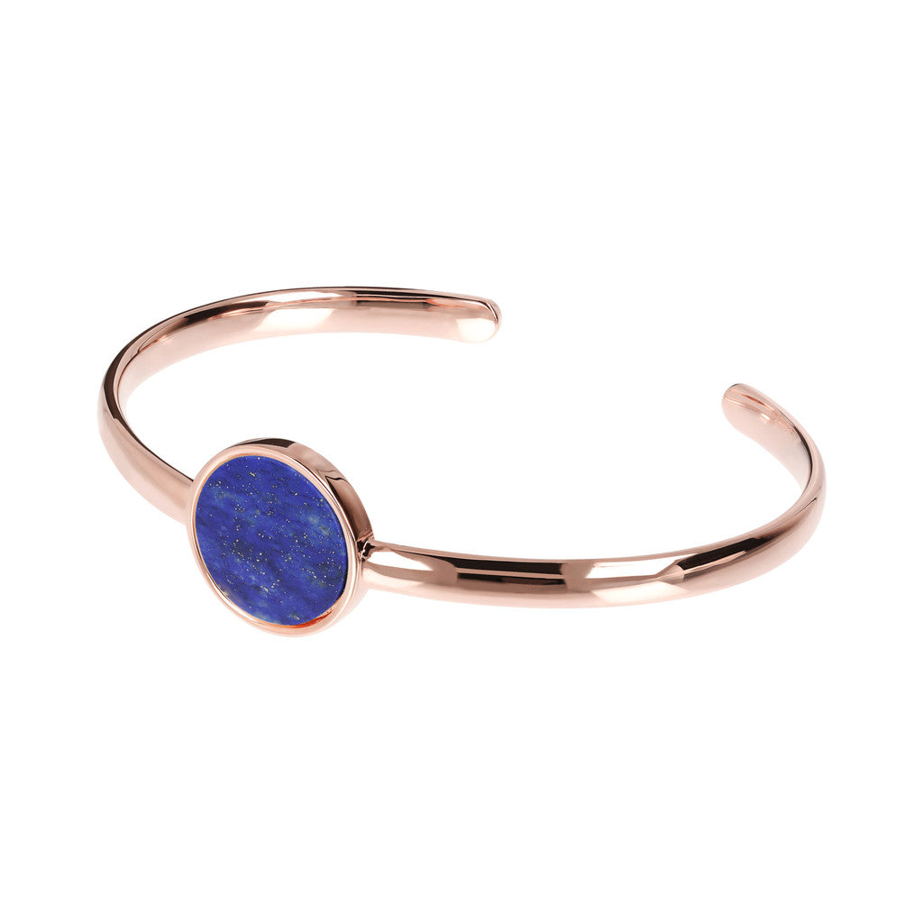 Genuine Gemstone Charm Open Bangle LAPIS