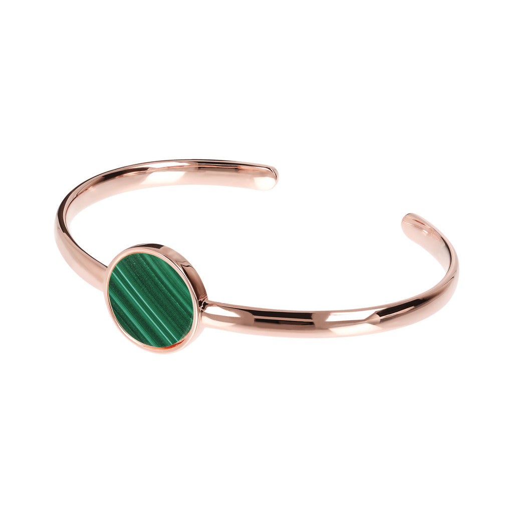 Genuine Gemstone Charm Open Bangle MALACHITE