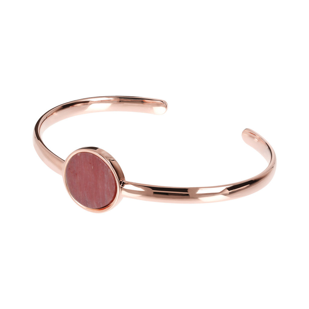 Genuine Gemstone Charm Open Bangle RED FOSSIL WOOD
