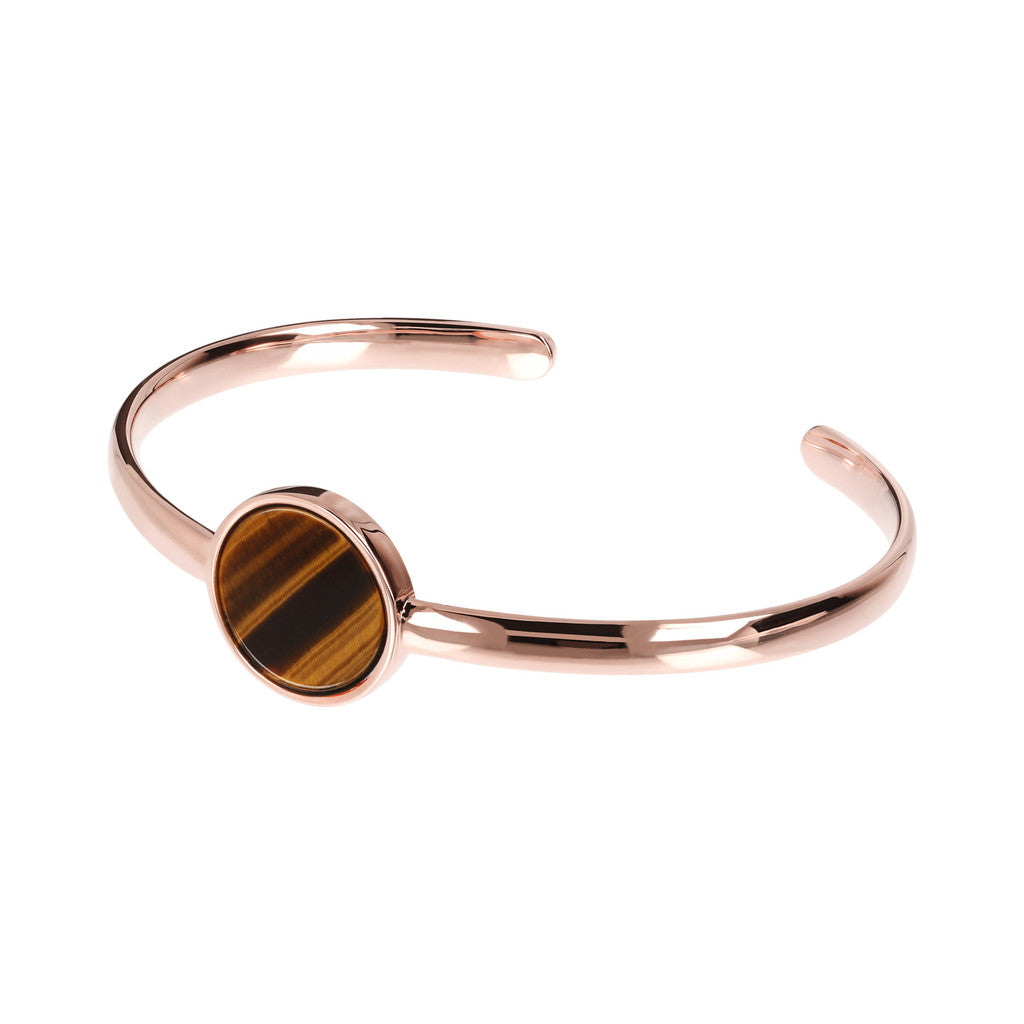 Genuine Gemstone Charm Open Bangle TIGER EYE