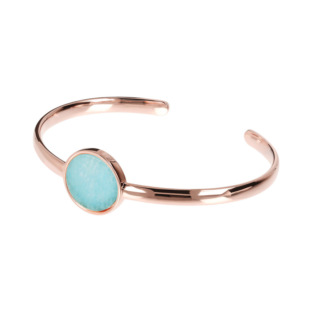 Genuine Gemstone Charm Open Bangle