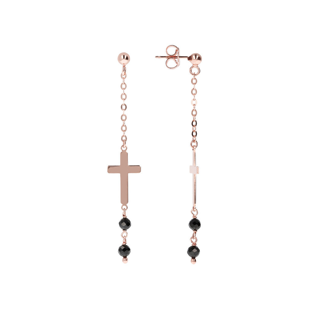 Genuine Gemstone Cross Dangle Earrings front and side