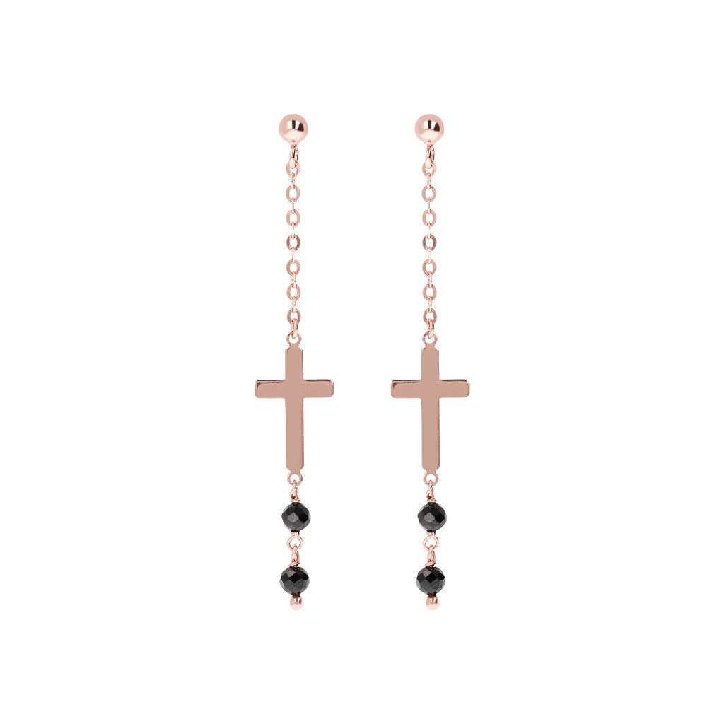 Genuine Gemstone Cross Dangle Earrings