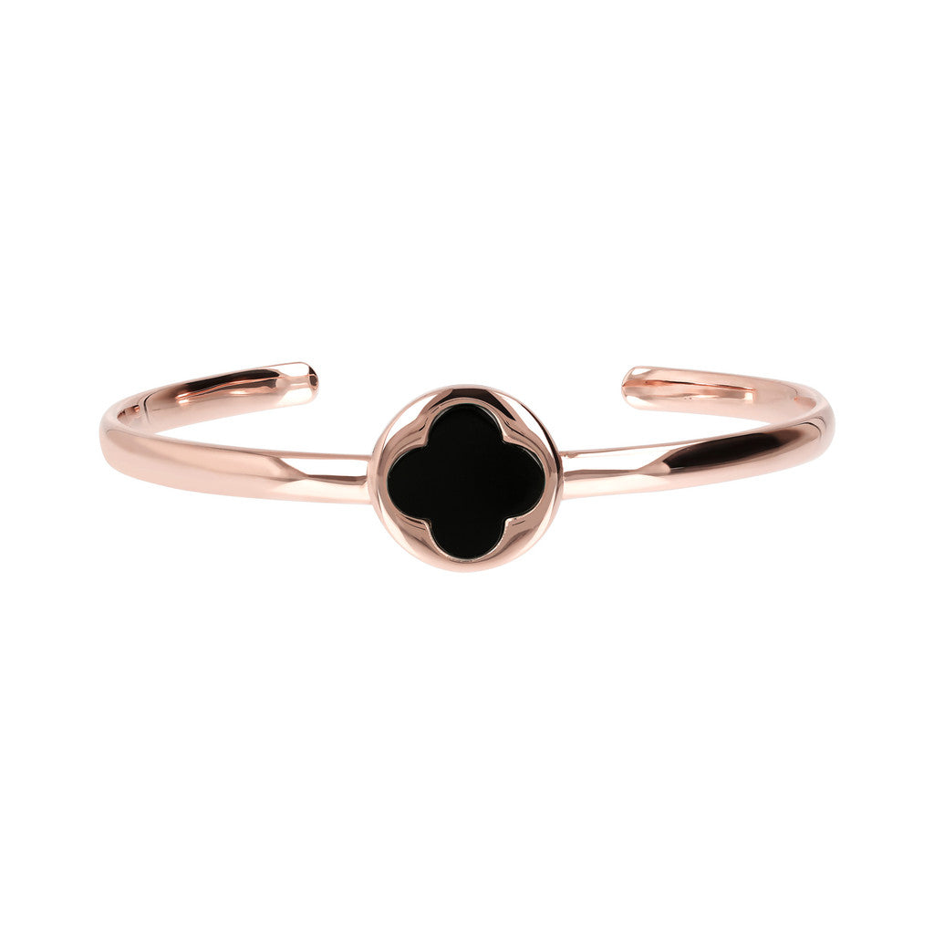 Genune Gemstone Four Leaf Clover Open Bangle BLACK ONYX side