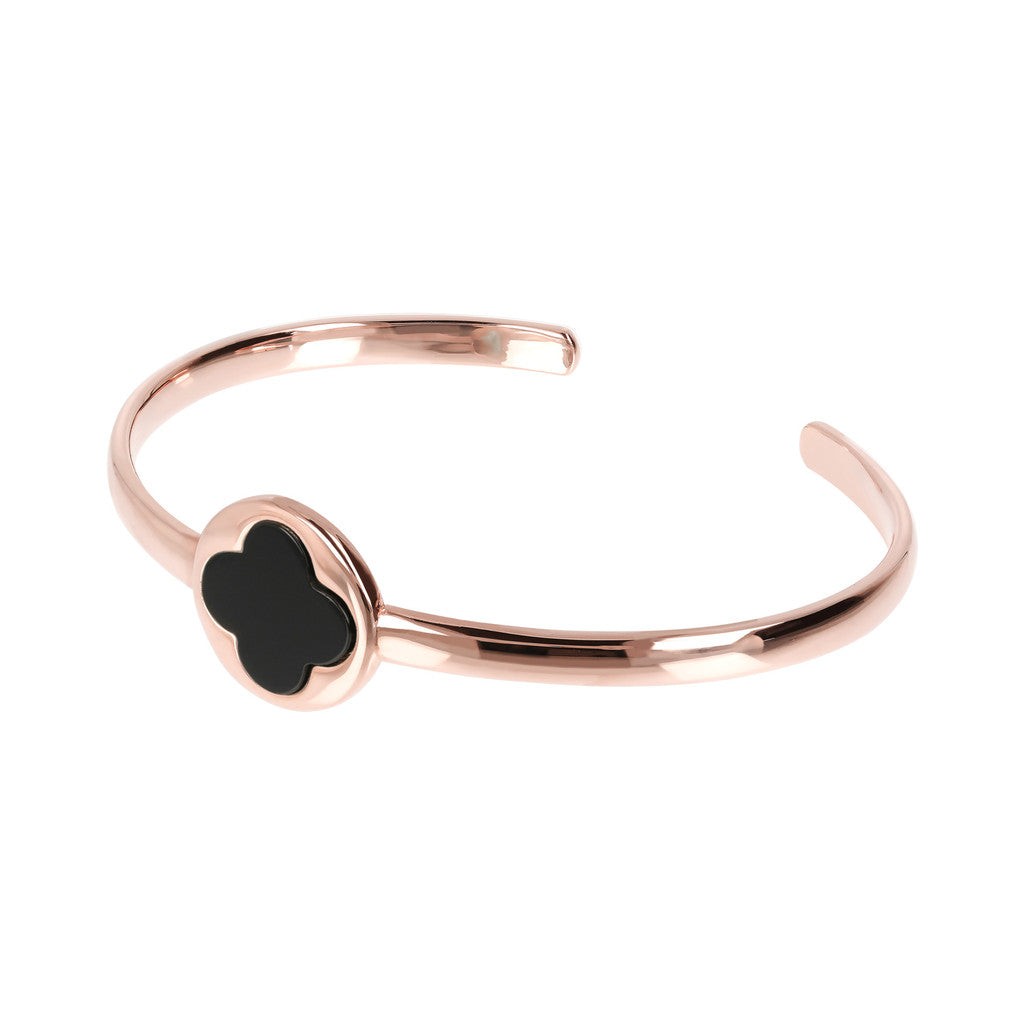 Genune Gemstone Four Leaf Clover Open Bangle BLACK ONYX